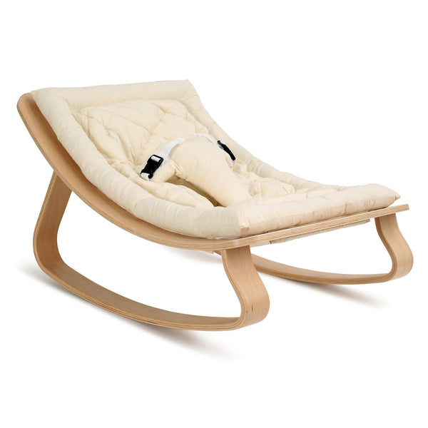 Charlie Crane Levo Baby Rocker in Beech with Organic White cushion
