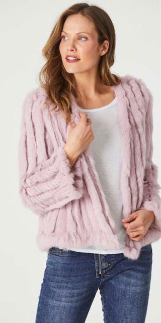 Rabbit Fur Short Jacket Musk
