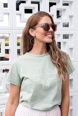 Stella & Gemma Star Cross Tee Smoke Green