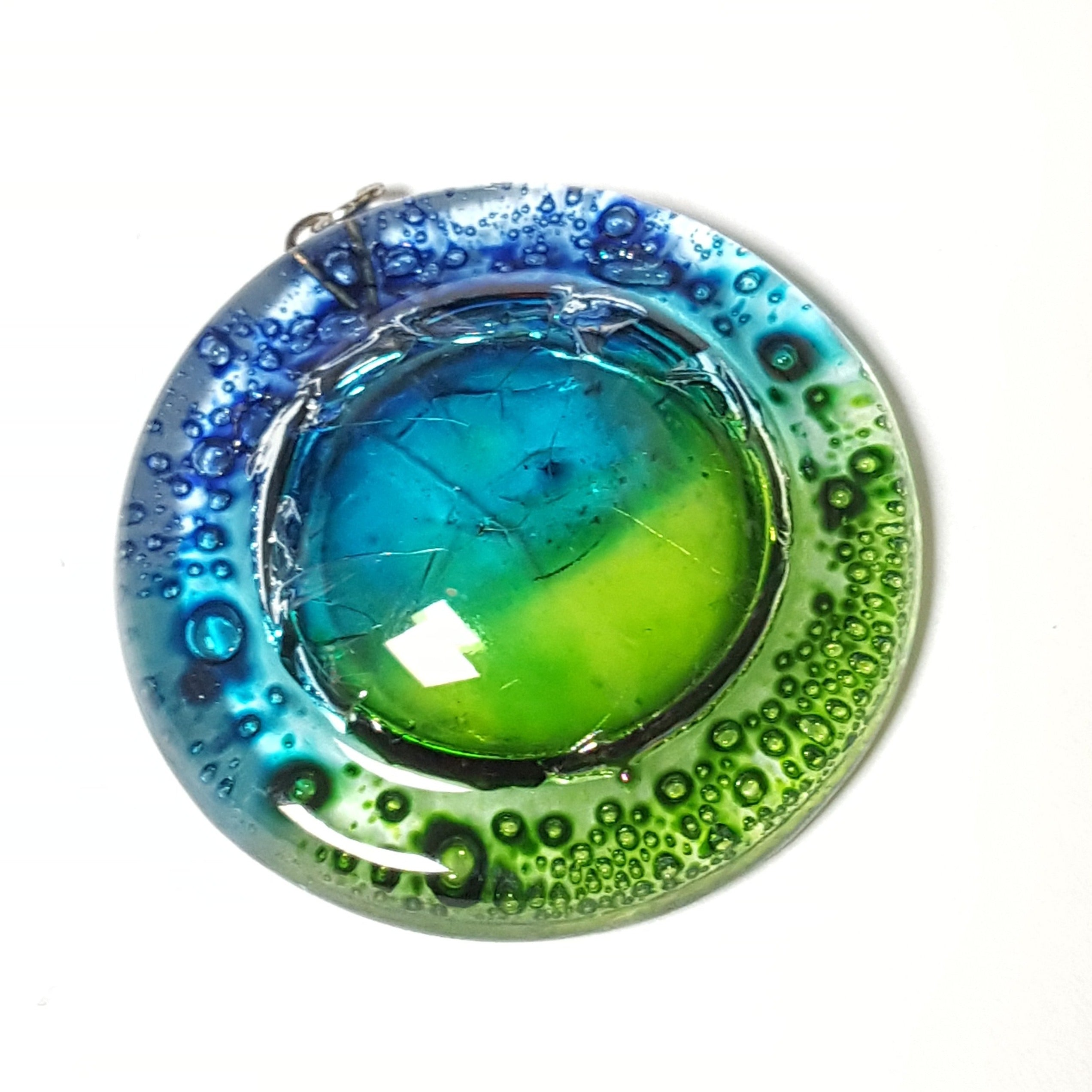 Blue, green Upcycled glass bead for craft project.