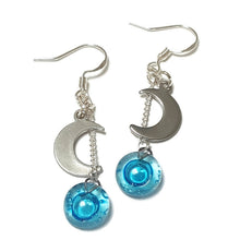 Load image into Gallery viewer, Small moon dangling earrings. Turquoise, aqua blue bead