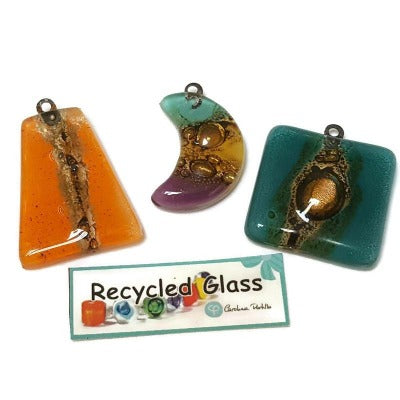 Combo 3 (three) pieces. Set of colorful focal centerpieces for pendant necklaces. Recycled glass
