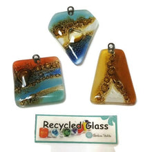 Load image into Gallery viewer, Set of 3 focal beads.  Recycled glass fused centerpiece medallions. Handmade glass pendant centerpiece .
