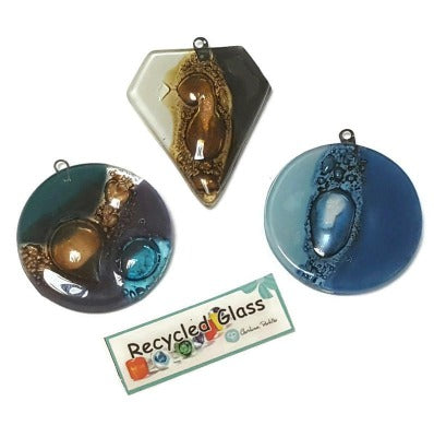 Set of focal beads, Recycled Glass Medallion, Fused fired in a kiln.