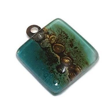 Artisan Glass Beads. Small square teal and Brown. DIY Earring component for making supplies Fused Upcycled  Glass - Fiesta Beads
