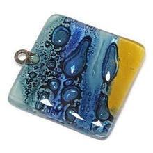 Load image into Gallery viewer, Artisan Glass Beads DIY Pendant Necklace. Band yellow Jewelry making supplies Fused Upcycled Glass - Fiesta Beads