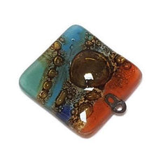 Load image into Gallery viewer, Artisan Colorful Glass Beads. DIY Pendant Necklace Charm. Fun Jewelry making supplies Fused Upcycled Glass - Fiesta Beads