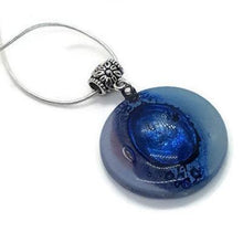 Load image into Gallery viewer, Lilac, baby blue and Blue round fused glass pendant. Recycled Glass necklace