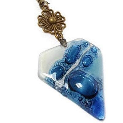 Fused Glass Pendant. Handmade Recycled Glass bead Necklace. Blue long Necklace