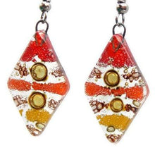 Load image into Gallery viewer, Red, Yellow and Orange Diamond Shaped Earrings. Fused glass Dangle Earrings.