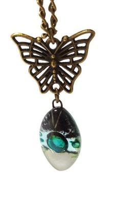 Green White and Black Leaf shape Recycled Fused Glass pendant Necklace with a Butterfly Bail.