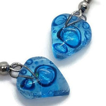 Load image into Gallery viewer, Small turquoise Earrings. Heart Shape Recycled glass Jewelry. Fused glass drop Earrings.