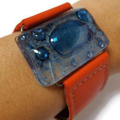 Recycled Fused Glass and Reclaimed Leather Bracelet.  Wide Cuff. Red Bracelet. Glass Jewelry