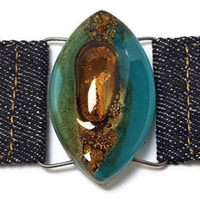 Teal Brown Fused Glass and reclaimed Denim Cuff.  Bracelet.