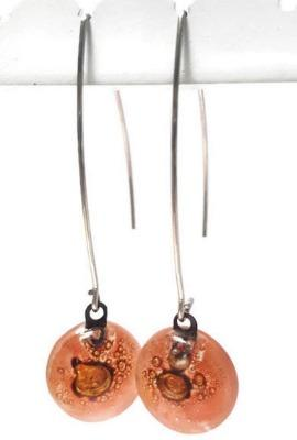 Long fused glass Drop earrings. Pale red and brown Sand V-wire recycled glass dangles.