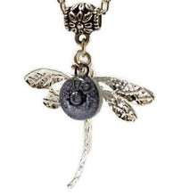 Load image into Gallery viewer, Dragonfly necklace. Recycled fused glass Purply bead.