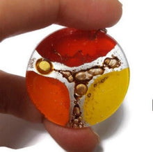 Load image into Gallery viewer, Orange, red and Yellow Upcycled glass circular bead for pendant/necklace. DIY jewelry project components, wire wrap, element component