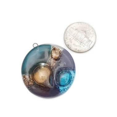 Round Turquoise, teal and Purple DIY Pendant Necklace for Jewelry making. Upcycled Glass elements Components. Round Circular Bead.