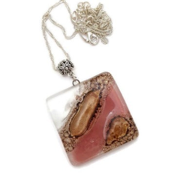 Pink Fused glass Bead for DIY Pendant Necklace. Jewelry making, Mosaic,  wire wrap  and crafts. Upcycled Reclaimed Glass charm
