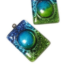 Load image into Gallery viewer, AMAZING Large Blue Green Fused glass Bead for DIY Pendant NecklaceCenter piece. Jewelry making, Upcycled Glass