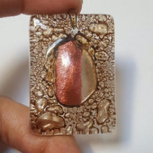 Load image into Gallery viewer, Unique reclaimed Copper and Brown handcrafted fused glass bead for jewelry making DIY charm necklace pendant maker desiner