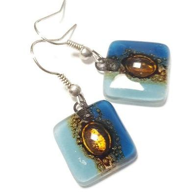 Blue and Brown Small Square Fused Glass Earrings. Recycled Glass Drop Earrings. Dangle Earrings