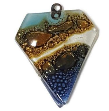 Blue Brown Beads Recycled Fused Glass. Pendant Necklace. Jewelry making Designing DIY. Components - Fiesta Beads