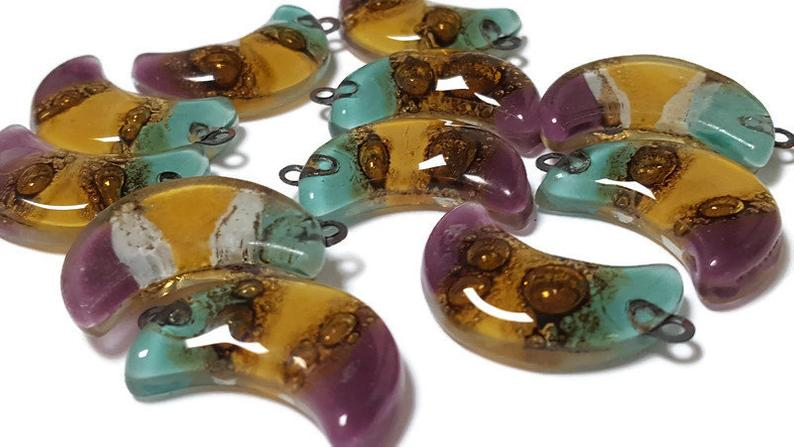 Moon Beads. Colorful  DIY Pendant Necklace. Jewelry  Recycled Glass earring Components