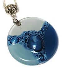 Load image into Gallery viewer, Blue-White  DIY Pendant Necklace for Jewelry making. Upcycled Glass elements Components. Round Circular Bead. - Fiesta Beads