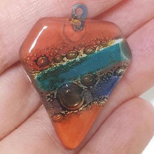 Load image into Gallery viewer, Handmade Upcycled Artisan Glass beads gemstones.. Colorful, unique jewelry making components elements for the DIY jewelry-making and craft projects. Eco-friendly beads handcrafted in small lots.  The bubbles make each bead a one of a kind creation. Unique selection of glass art beads. Two layers of window glass painted and fired in a kiln to fused. Whe the melt together each piece becomes one of a kind.