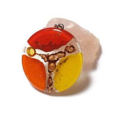 Orange, red and Yellow Upcycled glass circular bead for pendant/necklace. DIY jewelry project components, wire wrap, element component