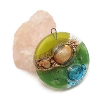 Round circular Green, turquoise and brown bead.  DIY Pendant Necklace for Jewelry making. Upcycled FusedGlass elements Components.