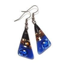 Load image into Gallery viewer, Black, Brown and Blue Triangle Earrings with Long drop Earrings. Recycled Fused Glass