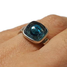 Load image into Gallery viewer, Handcrafted Ring. Alpaca Silver recycled fused glass adjustable ring. Blue Bubbles. Unique gift. Thin band.