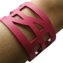 Load image into Gallery viewer, pink Reclaimed Leather wrist Band. The Self Empowering cuff Bracelet. Reurposed
