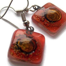 Load image into Gallery viewer, Small square red and Brown recycled glass drop earrings - Handmade Recycled Glass Jewelry