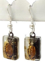 Load image into Gallery viewer, Black, white and Brown bars, Recycled Glass Drop earrings. Fused Glass Dangle Earrings. - Handmade Recycled Glass Jewelry