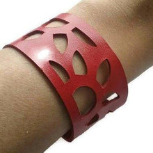 Load image into Gallery viewer, Red Sunflower Reclaimed Leather Cuff Bracelet. Repurposed Leather wrist Band - Handmade Recycled Glass Jewelry