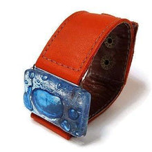 Load image into Gallery viewer, Recycled Fused Glass and Reclaimed Leather Bracelet.  Wide Cuff. Red Bracelet. Glass Jewelry - Handmade Recycled Glass Jewelry