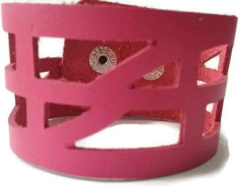 pink Reclaimed Leather wrist Band. The Self Empowering cuff Bracelet. Reurposed - Handmade Recycled Glass Jewelry