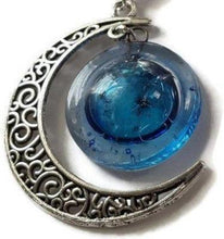 Load image into Gallery viewer, Blue moon recycled fused glass pendant. Long necklace - Handmade Recycled Glass Jewelry