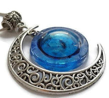 Load image into Gallery viewer, Blue moon recycled fused glass pendant. Long necklace