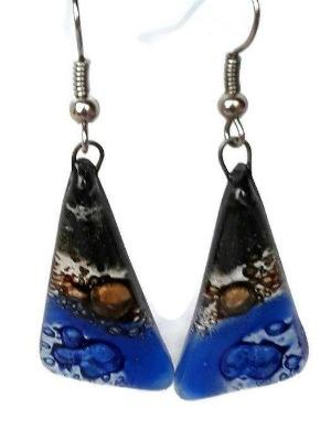 Black, Brown and Blue Triangle Earrings with Long drop Earrings. Recycled Fused Glass - Handmade Recycled Glass Jewelry