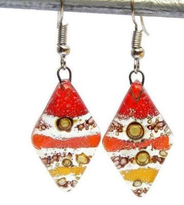 Red, Yellow and Orange Diamond Shaped Earrings. Fused glass Dangle Earrings. - Handmade Recycled Glass Jewelry
