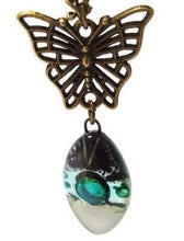 Load image into Gallery viewer, Green White and Black Leaf shape Recycled Fused Glass pendant Necklace with a Butterfly Bail.