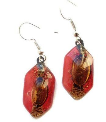 Funky shape red and brown glass earrings. Fused Glass drop earrings . Dangling Earrings - Handmade Recycled Glass Jewelry
