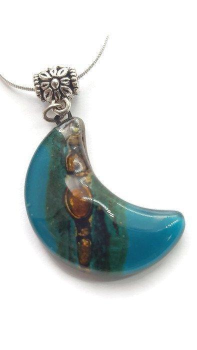 Teal and brown moon shape pendant. recycled Fused glass Necklace - Handmade Recycled Glass Jewelry