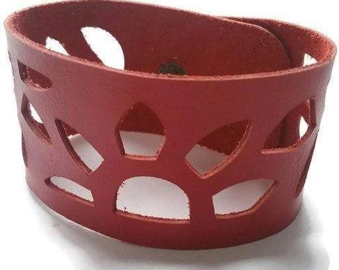 Red Sunflower Reclaimed Leather Cuff Bracelet. Repurposed Leather wrist Band - Handmade Recycled Glass Jewelry