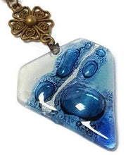 Load image into Gallery viewer, Fused Glass Pendant. Handmade Recycled Glass bead Necklace. Blue long Necklace - Handmade Recycled Glass Jewelry
