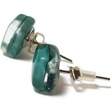 Load image into Gallery viewer, Post Earrings. Recycled glass Earrings. Teal Earrings Studs